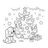 Profilo della pagina di coloritura dell'albero di Natale con gli ornamenti ed i regali con il cucciolo L'anno del cane Natale Nuo Immagini Stock Libere da Diritti