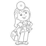 Profilo della pagina di coloritura di medico del fumetto con la cassetta di pronto soccorso Fotografia Stock