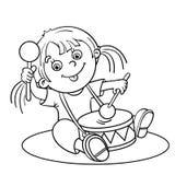 Profilo della pagina di coloritura di una ragazza del fumetto che gioca il tamburo Immagini Stock