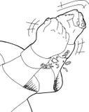 Profilo delle mani che tagliato i dispositivi d'ancoraggio Fotografia Stock