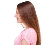 Profilo di bella giovane donna isolato su bianco Fotografie Stock Libere da Diritti