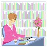 Profilo di bella giovane signora Una ragazza si siede ad una tavola nella biblioteca Una donna lavora come bibliotecario Vicino a illustrazione di stock