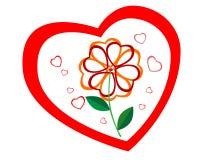 Profilo di cuore con un fiore nella metà Fotografie Stock Libere da Diritti
