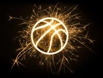 Profilo di pallacanestro in scintille Fotografia Stock Libera da Diritti