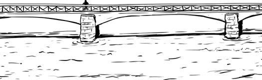 Profilo di Person On Bridge Over Water Immagine Stock