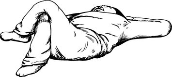 Profilo di Person Relaxing della parte posteriore sopra Fotografia Stock Libera da Diritti
