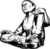 Profilo di seduta dell'uomo Immagine Stock Libera da Diritti