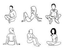 Profilo di seduta della gente Fotografia Stock Libera da Diritti