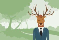 Profilo di Suit Deer Head dell'uomo d'affari del fumetto degli alci Fotografia Stock Libera da Diritti