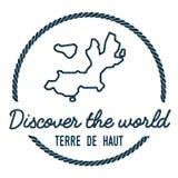 profilo di Terre-de-Haut Island Map annata Fotografie Stock