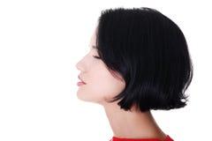 Profilo di una donna con gli occhi chiusi. Vista laterale. Fotografie Stock Libere da Diritti