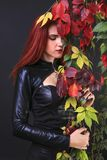Profilo di una donna gotica della testa alta di rosso fra le viti di autunno Fotografia Stock Libera da Diritti