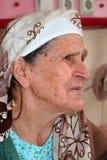 Profilo di una signora anziana Fotografia Stock