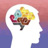 Profilo di una testa umana con un poli simbolo basso colorato Royalty Illustrazione gratis
