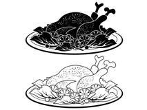 Profilo e siluetta neri del piatto della carne di tacchino illustrazione di stock