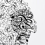 Profilo femminile astratto composto di segni musicali, note illustrazione di stock