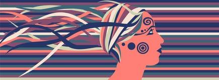 Profilo femminile luminoso con i simboli ed il fondo astratto Fotografia Stock
