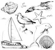 Profilo grafico messo con sette oggetti marini illustrazione vettoriale