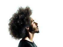 Profilo isolato siluetta africana del ritratto dell'uomo Immagine Stock