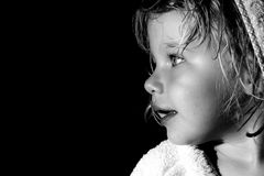 Profilo laterale in bianco e nero 2 del bambino Immagini Stock