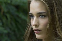 Profilo laterale del fronte della donna Fotografie Stock