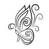 Profilo nero di una farfalla elegante Immagini Stock