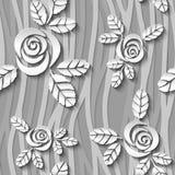 Profilo ondulato senza cuciture in bianco e nero con le rose 3d Immagini Stock