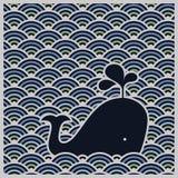 Profilo ondulato senza cuciture con la balena blu - vettore illustrazione vettoriale