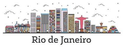 Profilo Rio de Janeiro Brazil City Skyline con le costruzioni di colore isolate su bianco illustrazione di stock