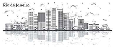 Profilo Rio de Janeiro Brazil City Skyline con le costruzioni moderne e riflessioni isolato su bianco illustrazione vettoriale