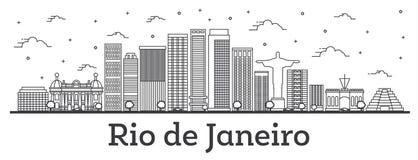 Profilo Rio de Janeiro Brazil City Skyline con le costruzioni moderne isolate su bianco illustrazione vettoriale