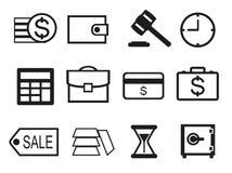 Profilo stabilito dell'icona dei soldi e di finanza Fotografia Stock Libera da Diritti