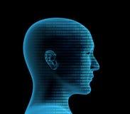 profilo umano 3d da un codice binario illustrazione vettoriale