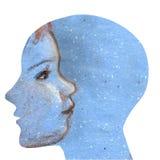 Profilo umano con il bambino sveglio Immagine Stock