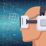 Profilowa głowa z słuchawki rzeczywistości wirtualnej wzroku 3d tłem ilustracji