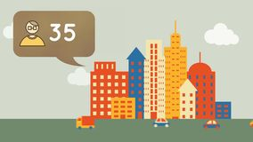 Profilowa ikona i miasto ilustracji