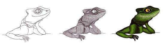 Profilowa jaszczurka ręka patroszona tutorial rysunek Obraz Royalty Free