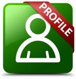 Profilowy członek ikony zieleni kwadrata guzik Zdjęcie Stock