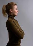 Profilowy portret piękna młoda kobieta zdjęcie royalty free