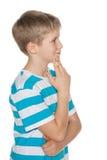 Profilowy portret preteen chłopiec Zdjęcie Royalty Free