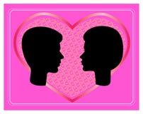 Profils de vecteur de visages d'homme et de femme Photos libres de droits