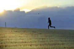 Profilschattenbild des jungen Mannes laufend in rüttelnde Disziplin des Landschaftstrainings-Cross Countrys im Sommersonnenunterg stockfotografie