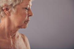 Profilsikt av den höga kvinnaframsidan Arkivbild