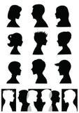 profilsilhouettes Arkivfoton