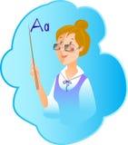 Profissão do professor da ilustração do vetor no azul Foto de Stock