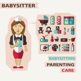 Profissão dos povos Infographic liso baby-sitter Foto de Stock