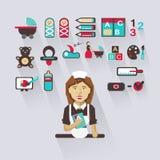 Profissão dos povos Infographic liso baby-sitter Imagem de Stock Royalty Free