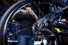 Profissão sujeita O homem caucasiano à moda novo com uma barba no trabalho está reparando uma bicicleta Loja da bicicleta, serviç fotos de stock