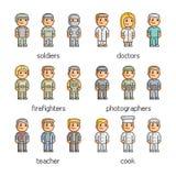 Profissões da coleção de arte do pixel Foto de Stock Royalty Free
