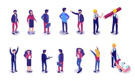 Profissões diferentes dos povos ajustados lisos isométricas ilustração stock